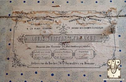 Etiquette malle ancienne Louis Vuitton rue des capucines 4