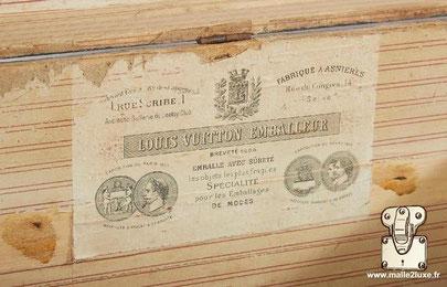 Etiquette ancienne Louis Vuitton rue du scribe vintage malle