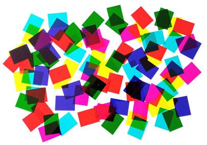 filtres colorés cyan magenta jaune rouge vert bleu