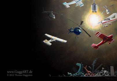 Natural Instinct, Acrylmalerei von Thomas Guggemos, Flugzeuge fliegen um Glühlbirne
