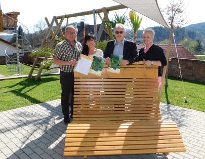 Bürgermeister Armin Christ , Gertrud  Steinhart, Bürgermeister Holger Jerg und  Tourismusbeauftragte Alexandra Hepp