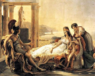 Eneas contándole a Dido (o Elisa de Tiro) las desgracias de Troya, por Pierre-Narcisse Guérin (1815), París, Louvre.