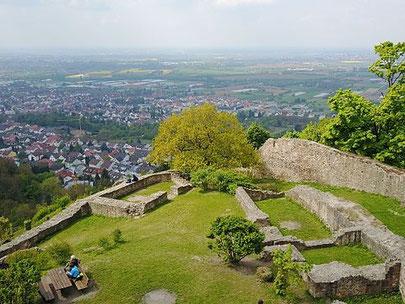 Blick von der Schauenburg in Dossenheim. Foto: Areuland