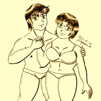 ローライズの下着姿の健太郎と春菜