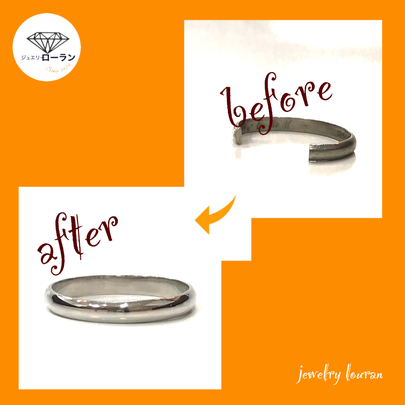 破損した指輪の修理 before after