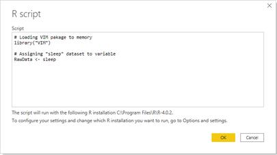 Using R datasource in Power BI Desktop