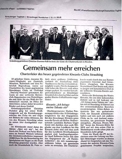 Pressebericht Charter KC Straubing