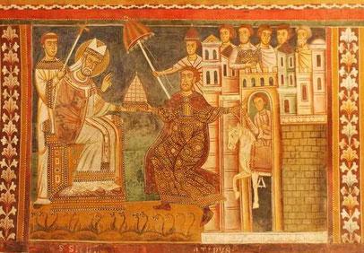 Silvester erhält die Tiara von Konstantin