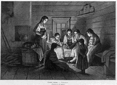 Wahrsagen in den Rauhnächten, russische Illustration, 1885