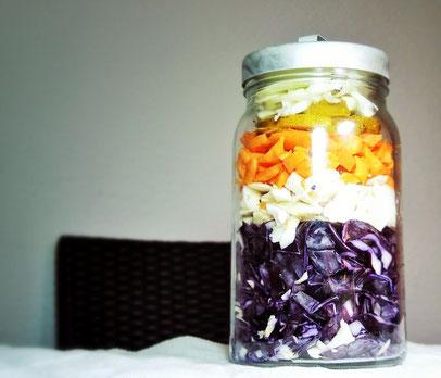 Wintersalat vorher: so könnte der Salat verpackungslos gelagert werden