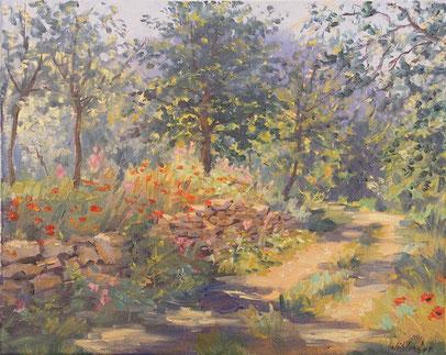 Tony Wahlander (Wåhlander) Le chemin qui mène aux cascades des Carmes à Barjols, est entouré de petit muré en pierre de restanque, semé de coquelicots et d'arbres feuillus