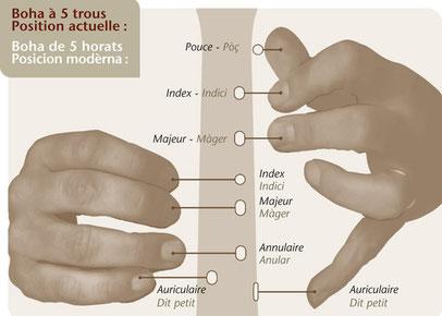 Position des doigts sur boha revivaliste 5 trous