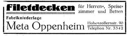 eine Zeitungsannonce, mit der Meta Oppenheim für ihre Filetdecken warb