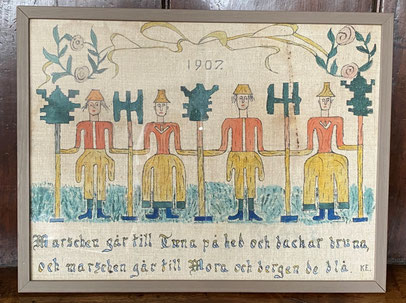 Naive Swedish Bonad, interpreting the song Dalmarsch by Erik Axel Karlfedt, 1907