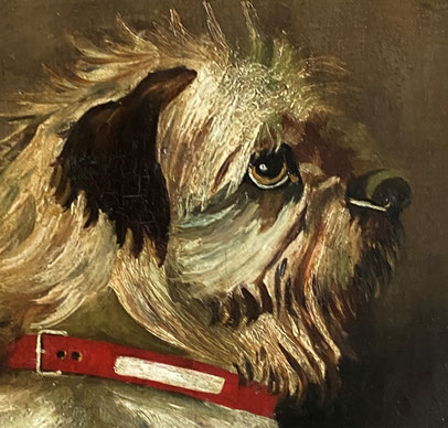 Antique A much loved Terrier. Naive oil on canvas