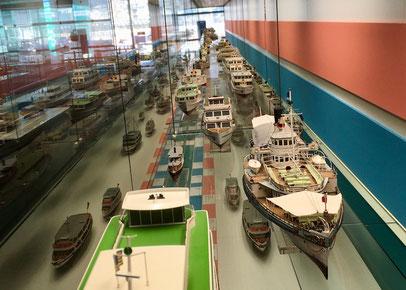 ausgestellte Schiffsmodelle