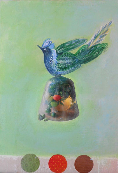 Peinture et collage oiseau sur toile.