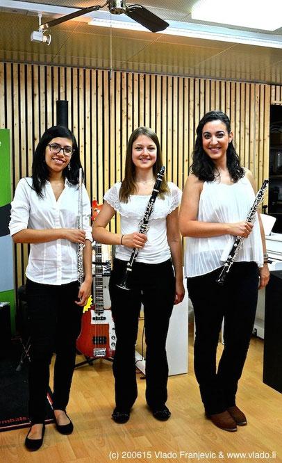 TRIO CON BRIO: Natalia Tellez Ramirez (Querflöte), Vanessa Klöpping (Klarinette), Eva-Maria Morillo (Oboe)