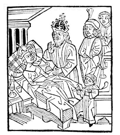 Königin im Bett, Holzschnitt aus Arnalds von Villanova Traktat vom Wein, Ulm 1499.