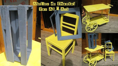 Chaise jaune 25 € / Table roulante 120 €