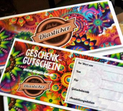 Diasticker Geschenkgutschein