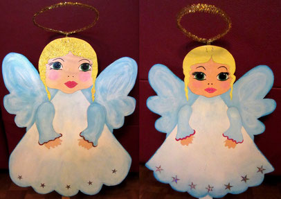 Figurines d' anges de Noel en bois