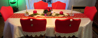 Habillage de chaise en feutrine + dentelle pour Noel