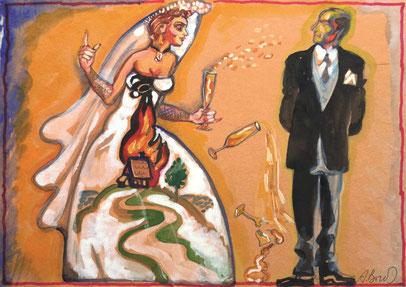 """Брусиловский, Анатолий, Невеста , """" Горящий дом"""", гуашь, акварель, цветная бумага, картон, 30 х 23 см, 2010-2014"""