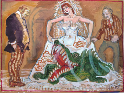 """Брусиловский, Анатолий, Невеста , """"Страшнее крокодила"""", гуашь, акварель, цветная бумага, картон, 30 х 23 см, 2010-2014"""