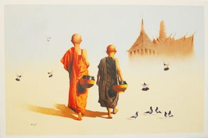 Junge Mönche - asiatische Kunst Bilder und Gemälde