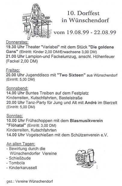 Bild: Wünschendorf Erzgebirge Dorffest 1999