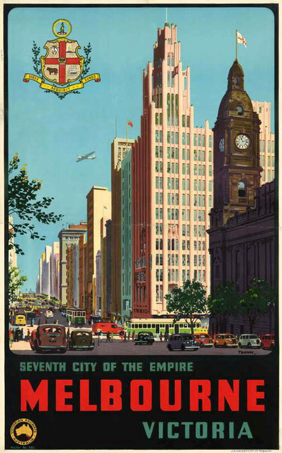 Vintage poster of Melbourne's Town Hall and Collins Street looking West