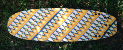 Mini Simmons quad wood surfboard cloth inlay