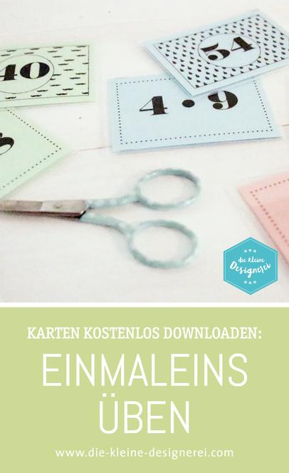 Karten zum Lernen des 1x1 für Grundschüler und weitere Freies gibts auf www.die-kleine-designerei.com