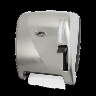 """Despachador / dispensador de toalla en rollo palanca AG24011 Níquel Barniz Color: Níquel Barniz Dimensiones en milímetros: Alto: 360 Largo: 285 Ancho: 235 Capacidad: 1 rollo de 8"""" / 20.3 cm Contenido por caja: 1 pieza"""
