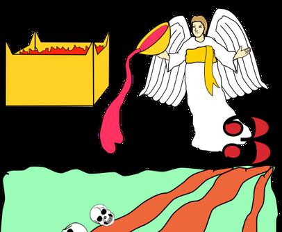 """L'ange en charge des eaux, le troisième ange qui a versé la coupe de la colère de Dieu sur les fleuves et les sources d'eau, déclare que les jugements de Dieu sont vrais et justes. Une voix venant de l'autel dit aussi """"Tes jugements sont justes et vrais""""."""