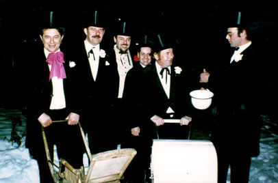 Die Hochzeitslader von 1978. Von links nach rechts: Karl Obert, Heinz Kühnlenz, Heinz Bosch, Theodor Vogler, Josef Schuler  und Hans Gsell.