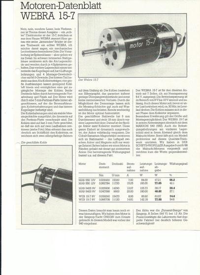 Webra 15-7 Datenblatt und Test