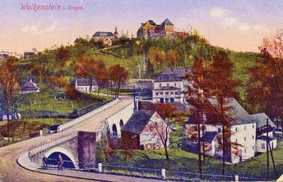 Historische Ansicht von Burg und Kirche