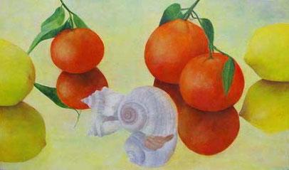 Muschel mit Früchten   Öl aufLeinwand 60x100cm