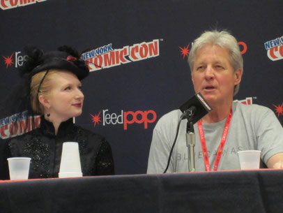 Leanna beside Babylon 5 and Lantern City's Bruce Boxleitner on the Steampunk Film & TV panel for New York Comic Con 2013