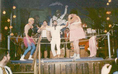 Zwei Kontrahenten beim Gullerschoppen-Ringkampf 1985
