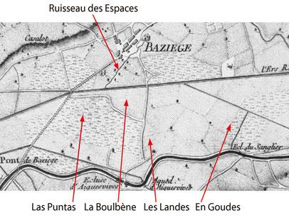 Fig.5 - Baziège sur la carte du canal royal de la province de Languedoc de François Garipuy, gravée par Nicolas Chalmandrier (1774)