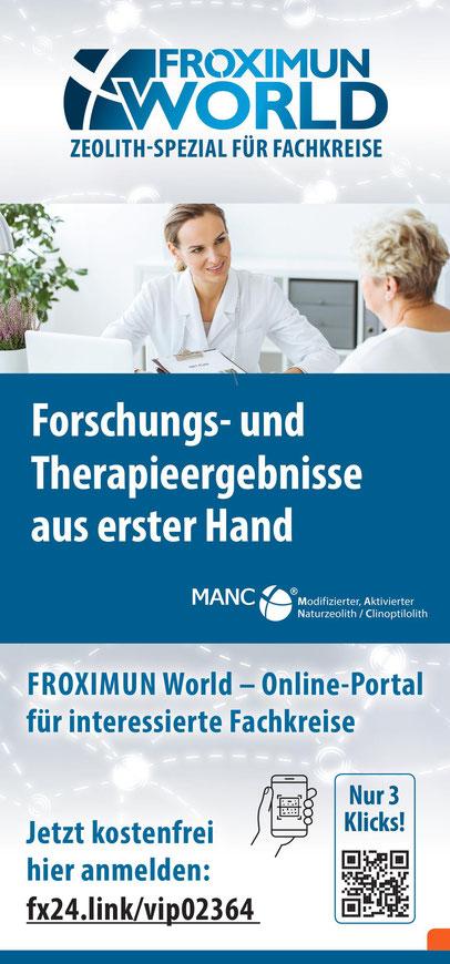 Karte anklicken und anmelden. Die Registrierung und Nutzung des FROXIMUN Onlineportals für Fachkreise. Therapeuten, Ärzte, Apotheker ist kostenfrei!