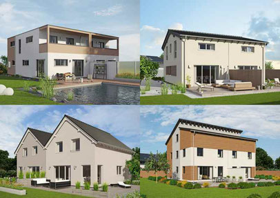 """Die flexibel und individuell planbare Doppelhaus-Reihe """"Duett"""" von Fingerhut Haus. Foto: Fingerhut Haus"""