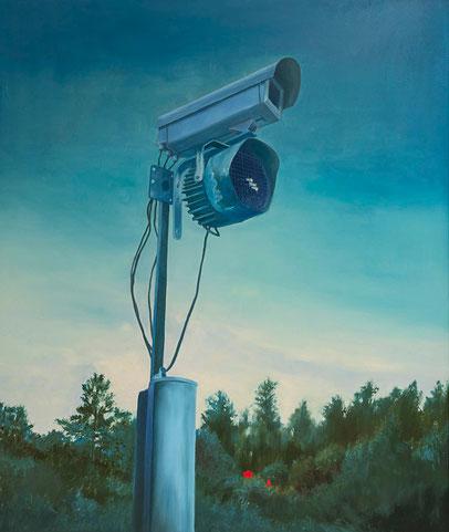 Mobile home camping ~~ 2010 - huile et stickers sur toile - 165x140cm serie des caméras de surveillance  security cameras