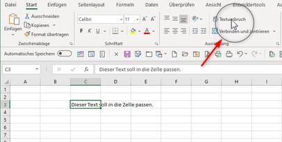 Es ist das Menüband in Excel dargestellt. Um eine Funktion ist ein Kreis zu sehen.