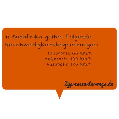 Geschwindigkeitsbegrenzungen: Innerorts 60 km/h  Außerorts 100 km/h  Autobahn 120 km/h