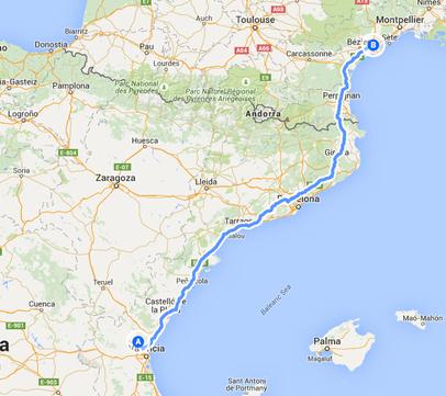 4. Fahrstrecke von Bétera nach Saint-Thibéry 643 Kilometer
