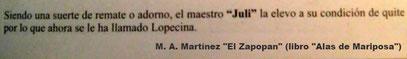 """Cita de M.A. Martínez """"El Zapopan"""""""